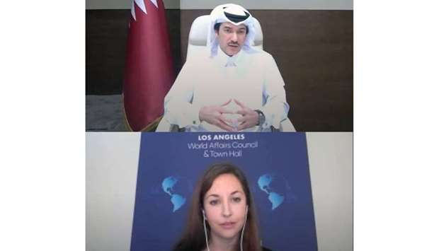 HE Ahmad al-Sayed attending the virtual event.