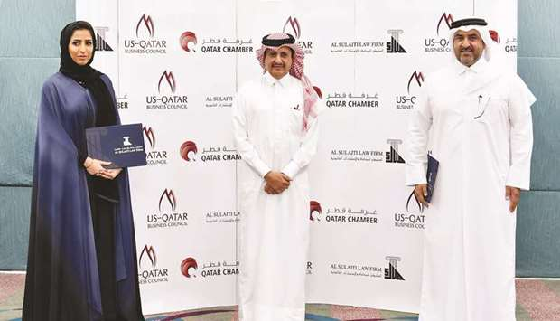From left: USQBC managing director Sheikha Mayes bint Hamad bin Mohamed bin Jabr al-Thani; Qatar Cha