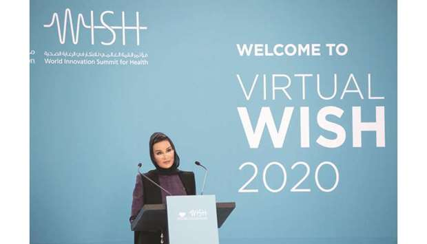 atar Foundation chairperson Her Highness Sheikha Moza addressing the opening session of the World In