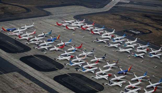 Grounded Boeing 737 MAX aircraft are seen parked at Boeing facilities at Grant County International