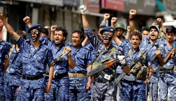 Members of a security force loyal to the Houthi rebels.