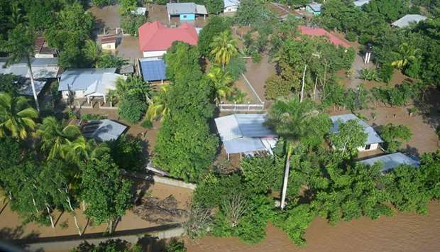 Aerial view of the flooded municipality of Choloma, department of Cortes, Honduras, following the ov