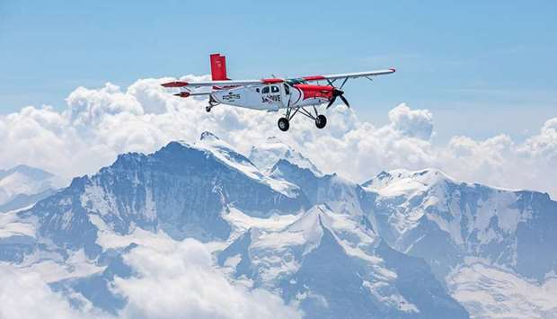 An aircraft overflying Mont Blanc