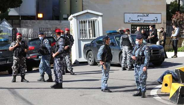 Members of the Lebanese police gather outside Baabda prison, Lebanon