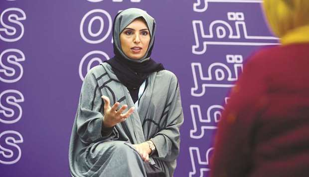 Fatma Hassan Alremaihi at the Ajyal Film Festival 2020 press briefing at Katara - the Cultural Villa