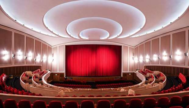 The closed red curtain at the Lichtburg cinema in Essen, western Germany