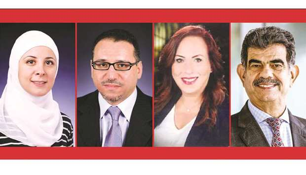 From left to right: Hiam Chemaitelly, Dr. Laith Abu Raddad, Joumana Hermez, Dr. Abdul Sattar al-Taie