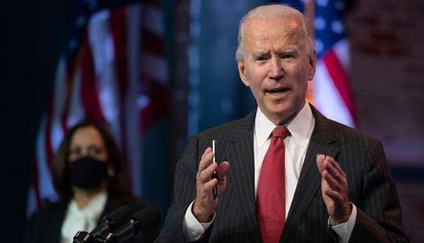 US President-elect Joe Biden speaks after a meeting with governors in Wilmington, Delaware, on Novem