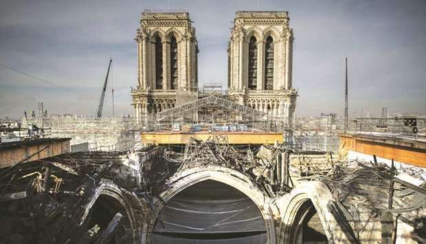 A photograph taken yesterday shows the melted scaffolding on the roof of Paris's Notre-Dame cathedra