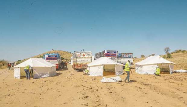 The aid aims to provide tents and offer healthcare services by operating fixed and mobile clinics, i
