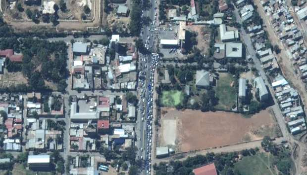 Satellite picture shows vehicles in long lines queueing for gas in Mekele, Ethiopia.