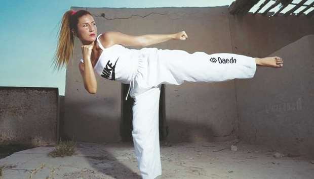 Ana Catarina Trindade, practicing taekwondo