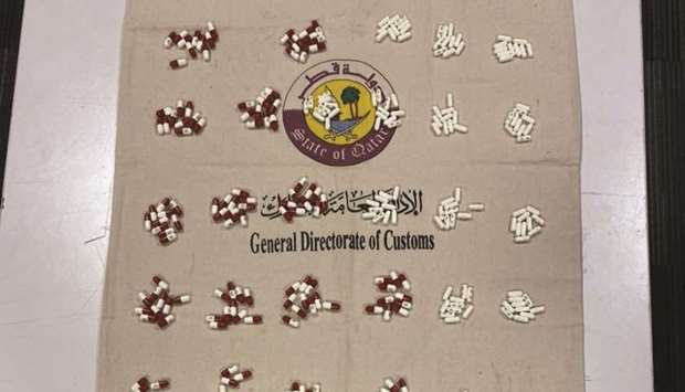 The General Authority of Customs (GAC), tweeted that customs officials recovered 397 Lyrica and 46 C