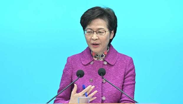 Hong Kong Chief Executive Carrie Lam speaks during a press conference at the government headquarters