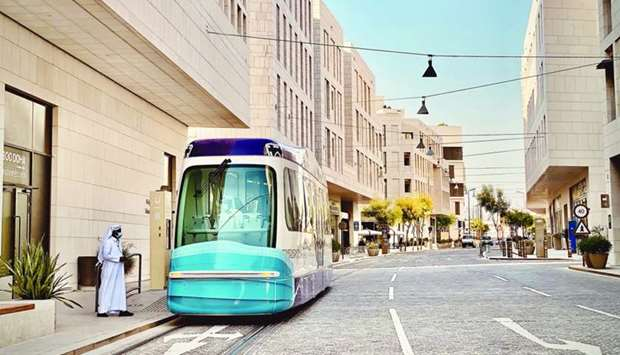 The MDD Tram takes visitors around the central hubs from Msheireb Museums station to Al Kahraba Stre