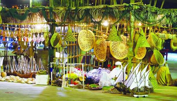 A stall featuring traditional handicraft goods is seen at Katara -The Cultural Village where the 10t