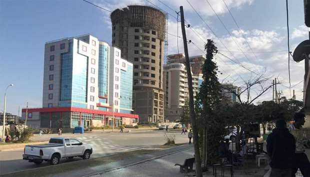 A view shows a street in Mekelle, Tigray region of northern Ethiopia