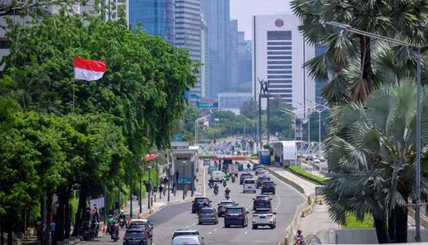 Light traffic along a main road in central Jakarta