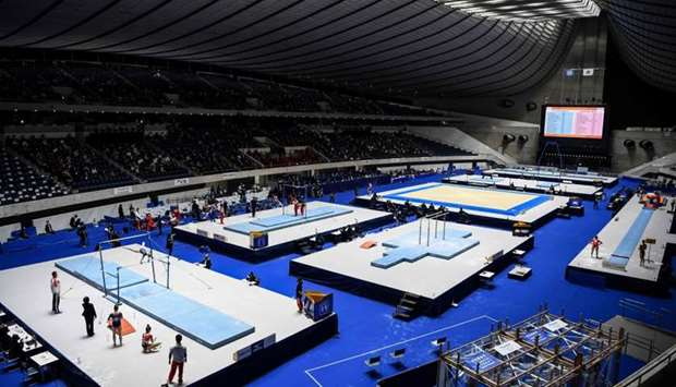 A general view shows the Friendship and Solidarity Competition gymnastics event in Tokyo, the first