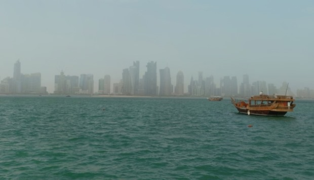 Doha's West Bay, experienced blowing dust on Sunday