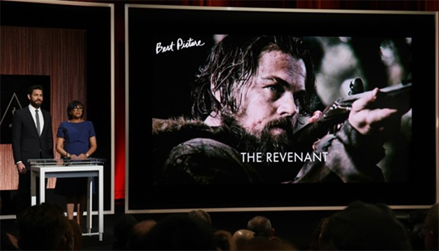 A screen showing the film 'The Revenant' which is an Oscar nominee for Best Picture, is announced by