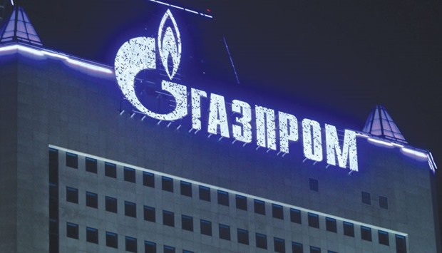 An OAO Gazprom logo is seen on display at the company's headquarters in Moscow. Gazprom boosted ship