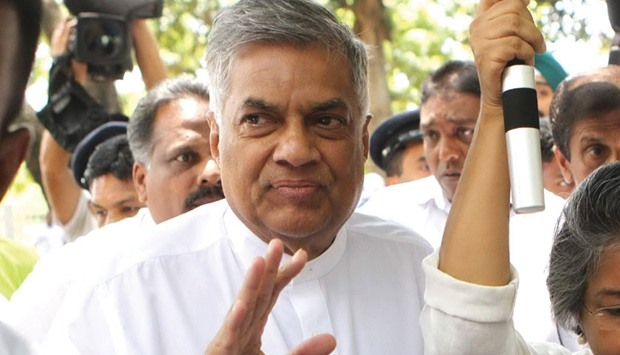 Sri Lankan Prime Minister Ranil Wickremesinghe, centre, during a rally.