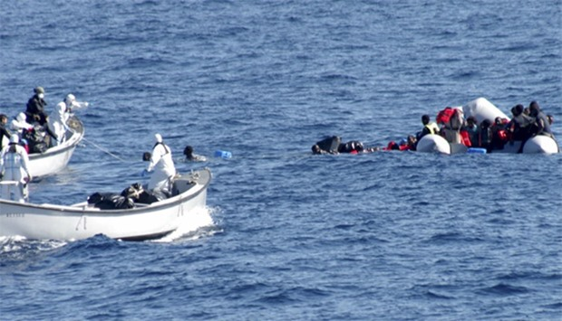 Migrants are rescued by the Navy in the Mediterranean Sea