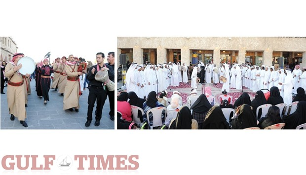 Musicians and dancers perform at the Souq Waqif Spring Festival in Doha.