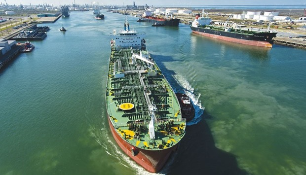 A tanker sails out of the Citgo Refinery dock bound for Mexico with a load of gasoline at the Port o