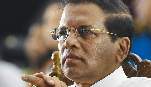Maithripala Sirisena watches a cultural show at Independence Square in Colombo yesterday.