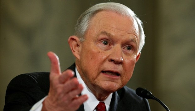 US Sen. Jeff Sessions  testifies at a Senate Judiciary Committee confirmation hearing for Sessions