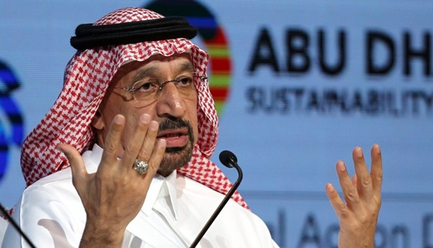 Khalid Al-Falih, speaks during the 10th edition of the World Future Energy Summit