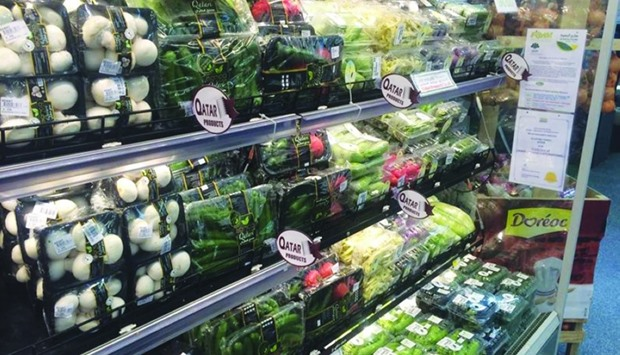 Some of the vegetables grown in Qatari farms on display at Al Meera stores.
