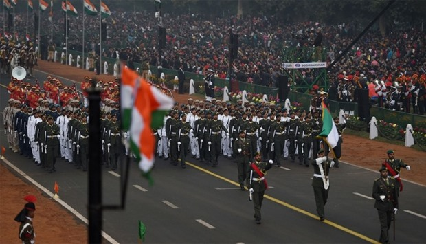 A military contingent from UAE marches during India's 68th Republic Day parade