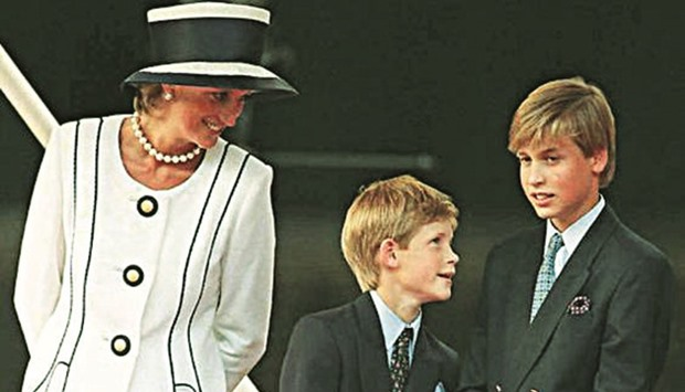 Princess Diana with her two sons Harry and William in 1995, two years before she died.