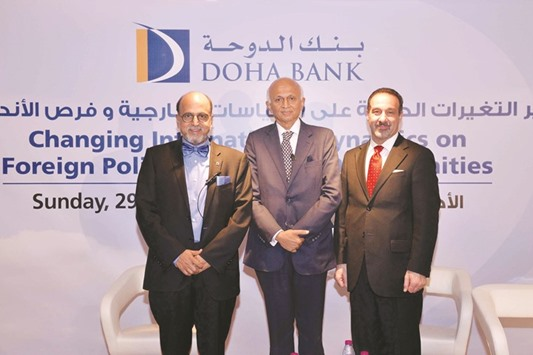 Doha Bank CEO Dr R Seetharaman with special guests of the bank's recently-held knowledge sharing session