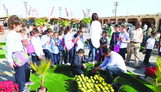 Students from various schools in Doha participated in a number of educational and planting activitie