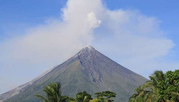Mayon Volcano spews ash