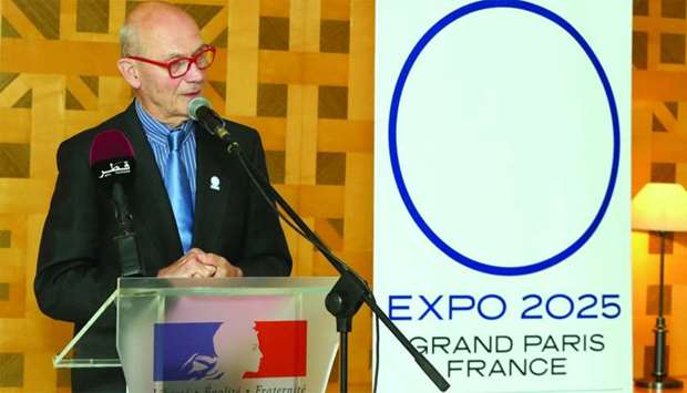 Lamy, France's delegate for the 2025 Expo bid, delivers a presentation during a meeting held in Doha