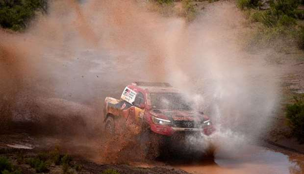 Nasser Al-Attiyah, Qatar & Matthieu Baumel, France, drive their Toyota-Stage7, between La Paz &Uyuni
