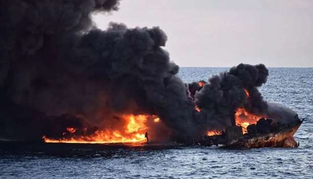 "Smoke and flames coming from the burning oil tanker ""Sanchi"" at sea off the coast of eastern China"