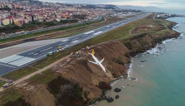 A Pegasus Airlines Boing 737 passenger plane is seen struck in mud on an embankment, a day after ski