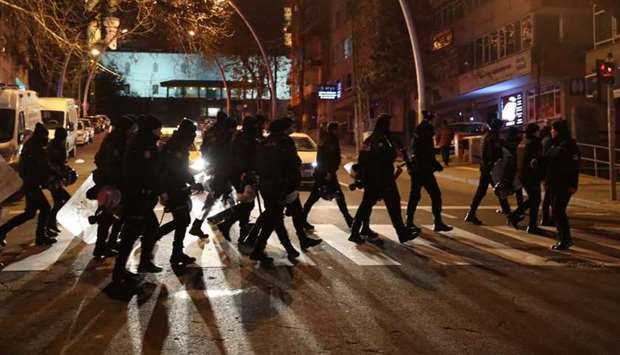 Turkish  police officers patrol the in Ankara