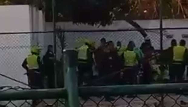 Police and rescue personnel at the site of blast