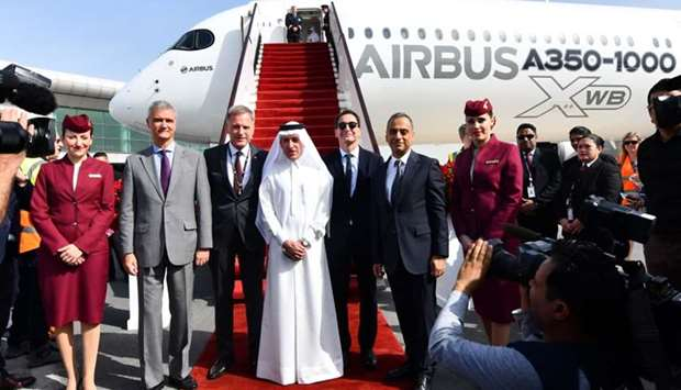 Qatar Airways group chief executive Akbar al-Baker and the VIP guests receive the first Airbus A350-