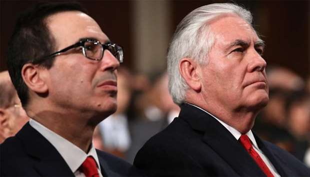 Treasury Secretary Steven Mnuchin (L) and US Secretary of State Rex Tillerson