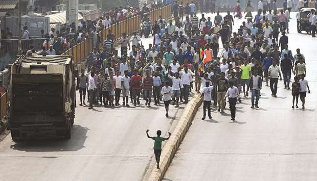 Republican Party of India (RPI) supporters block a street during a protest in Mumbai yesterday.