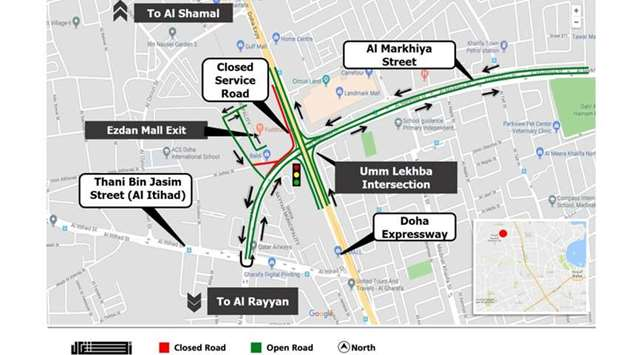 Road closure in front of Ezdan Mall
