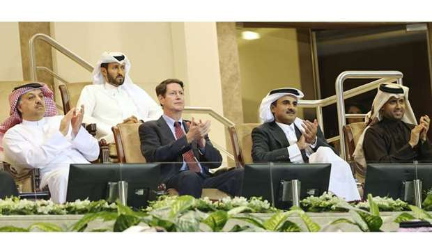 His Highness the Emir Sheikh Tamim bin Hamad al-Thani attended the final of Qatar ExxonMobil Open fo